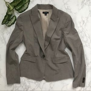Ann Taylor one button gray fitted blazer jacket 6